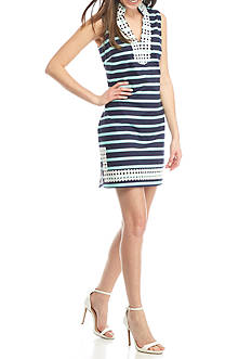 Sail to Sable Slub Knit Striped Dress with Dot Trim
