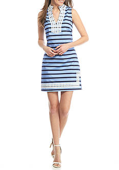 Sail to Sable Slub Knit Striped Dress with Dot Trim