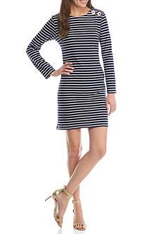 Sail to Sable Long Sleeve Shift Dress