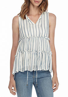 MOON RIVER Vertical Stripe Tie Neck Tier Swing Top