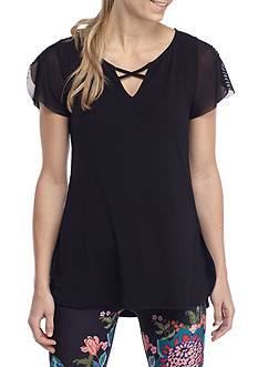 Nanette Lepore Lace-Up Flutter Sleeve Top