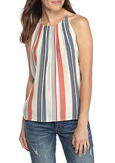T H M L Vertical Stripe Swing Top