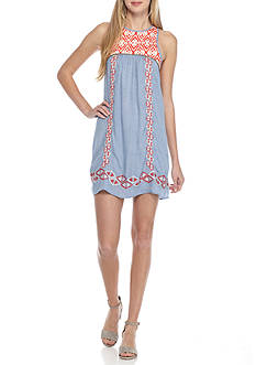 T H M L Sleeveless Embroidered Bib Swing Dress