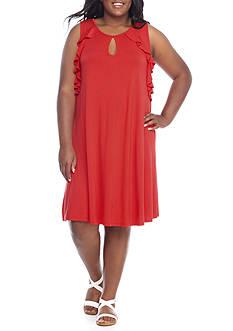 GOOD LUCK GEM Plus Size Ruffle Sleeve Swing Dress