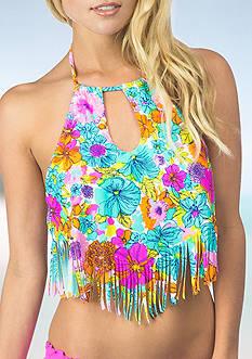 Hobie Fleur To Love Hi-Neck Keyhole Halterkini Swim Top