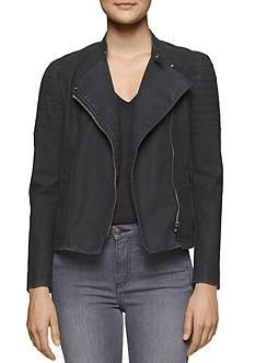 Calvin Klein Jeans Faux Elephant Skin Biker Jacket