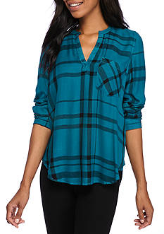 Calvin Klein Jeans Plaid Long Sleeve Henley Top