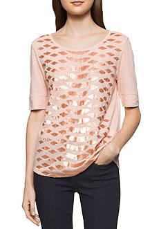 Calvin Klein Jeans Sequin Elbow Sleeve Top