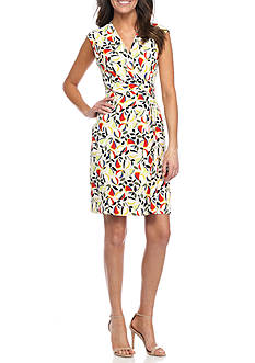Anne Klein Printed Crossover V-Neck Sheath Dress