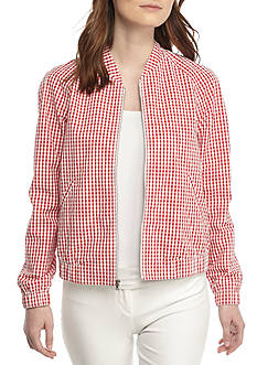 Anne Klein Gingham Bomber Jacket