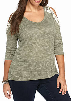 Almost Famous Plus Size Cold Shoulder Space-dye Top