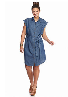 Almost Famous Plus Size Chambray Shirtdress