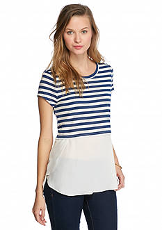 Almost Famous Striped Knit to Woven Top