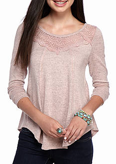 Almost Famous Lace Yoke Swing Sweatshirt