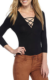 Almost Famous Long Sleeve Lace up Body Suit