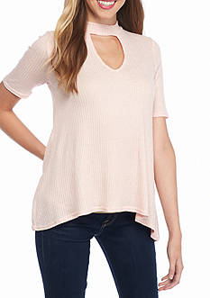 Almost Famous Elbow Mock Neck Lace Back Top