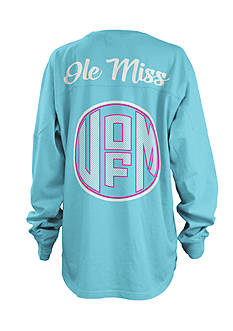 ROYCE Ole Miss Seersucker Monogram Tee