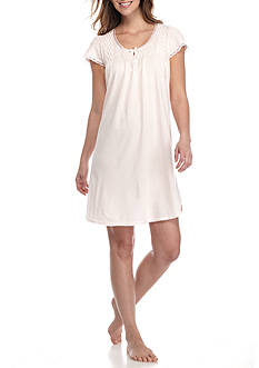 Miss Elaine Silky Knit Peach Flutter Sleeve Gown