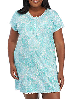 Miss Elaine Plus Size Blue Paisley Cottonesa Sleep Shirt