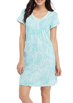 Miss Elaine Blue Paisley Cottonesa Sleep Shirt