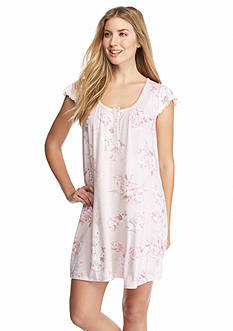 Miss Elaine Pink Floral Knit Short Gown