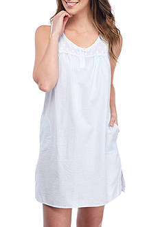 Miss Elaine Striped Sleeveless Seersucker Chemise