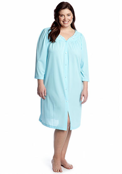 Miss Elaine Plus Size Nylon Embroidered Button Front Robe