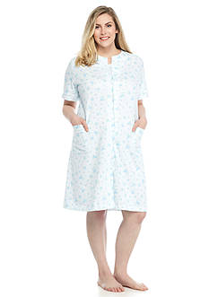 Miss Elaine Plus Size French Terry Grip Robe