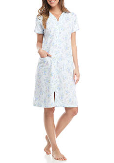 Miss Elaine Short-Sleeve Silky Knit Zip Robe