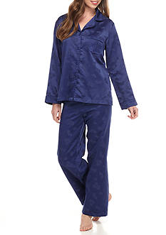Miss Elaine Brush Back Satin Pajama Set