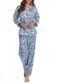 Miss Elaine Brush Back Animal Satin Pajama Set