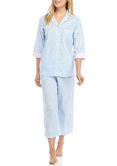 Miss Elaine Striped Button Front Pajama Set