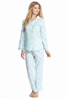 Miss Elaine 2-Piece Cotton Woven Long Pajama Set