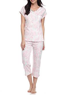 Miss Elaine Short Sleeve Silky Knit Capri Pajama Set