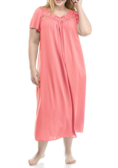 Plus Size Long Tricot Nylon Gown