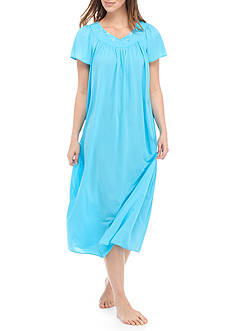 Miss Elaine Tricot Flutter Sleeve Long Gown