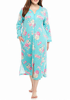 Miss Elaine Plus Size Cottonessa Long Zip Robe