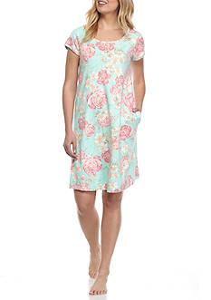 Miss Elaine Floral Pleat Interlock Sleep Dress