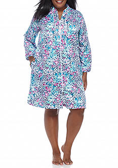 Miss Elaine Plus Size Short Zip Robe