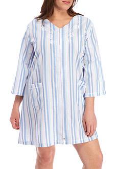 Miss Elaine Plus Size Seersucker Short Zip Robe