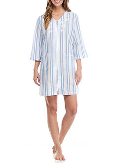 Miss Elaine Three-Quarter Sleeve Seersucker Zip Gown