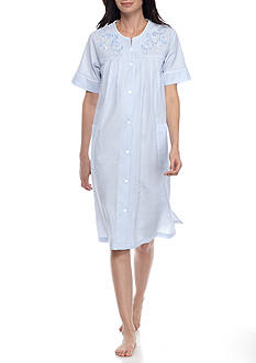 Miss Elaine Short Grip Seersucker Robe