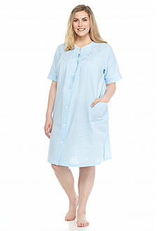 Miss Elaine Plus Size Check Seersucker Short Grip Robe
