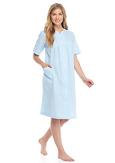 Miss Elaine Check Seersucker Short Grip Robe