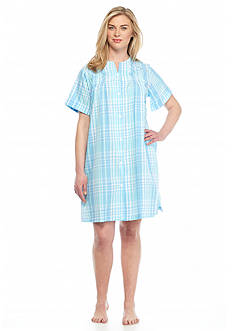 Miss Elaine Plus Size Plaid Seersucker Short Grip Zip Robe