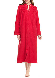 Miss Elaine Brushed Back Terry Long Zip Robe