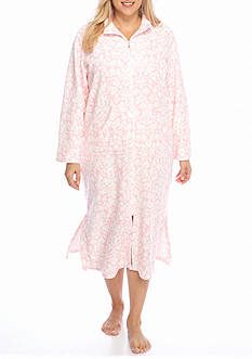 Miss Elaine Plus Size Brushback Terry Long Robe