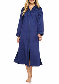 Miss Elaine Brushed Back Satin Long Zip Robe