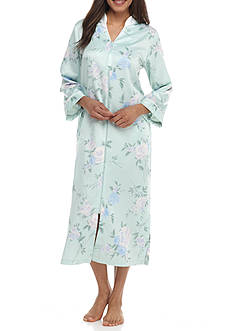 Miss Elaine Long Satin Zip Front Robe
