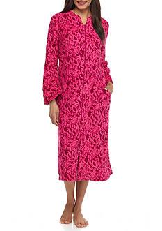 Miss Elaine Long Fleece Zip Front Robe